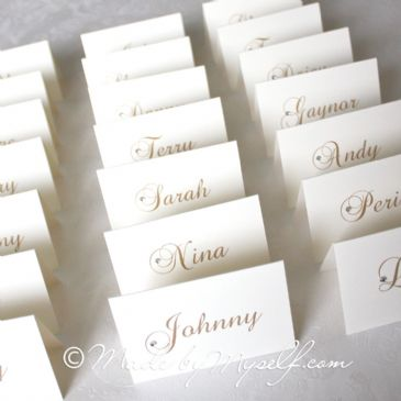 Diamante Scroll Name Place Card
